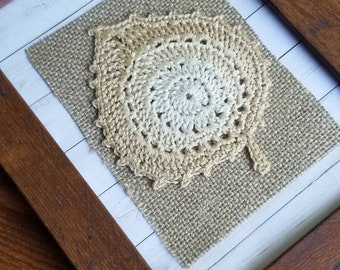 Rustic Lace and Burlap Crocheted Leaf Motif, Framed, 5x7