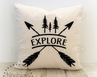 Explore Pillow Cover, Camping, Outdoors, Adventure Awaits, Lake, Cabin, Wilderness, Arrow, Tribal, Welcome, Nature