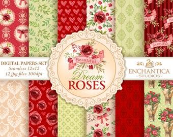 Digital Paper Watercolor, Watercolor Digital Paper, Red Roses Digital Paper, Floral Digital Papers, Watercolor Roses Digital Paper Patterns