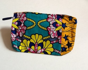 Zipper pouch, Ankara pouch, Cosmetic Make-up bag, African print pouch, African print coin purse, Pencil case, Gift for women