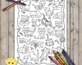 Playful Cats Printable Coloring Page