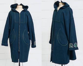 1950s Benchwarmer Jacket D Pocket Forest Green Wool Full Length Hooded Football Jacket