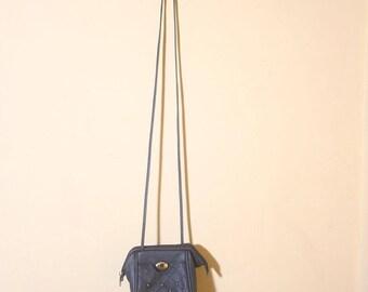 Vintage 1990s Quilt Studded Bovano Mini Black A Frame Zip Up Shoulder Crossbody Purse