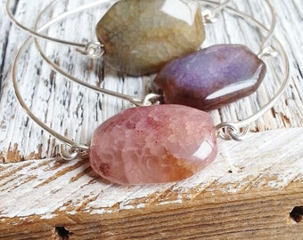 Stone Agate Bangle, Bangle Bracelet, Geology Jewelry, Rock Bracelet, Stacking Bracelet, Stacking Bangles, Minimalist Stone Jewelry, Silver