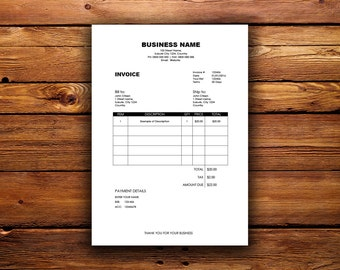 Digital Invoice Etsy - Digital invoice