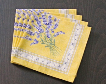Set of 2 to 8 Cotton Napkins Provence Lavender in Yellow Gold - Set of 2 - 4 - 6 or 8 Napkins -