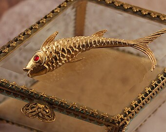 Goldfish Brooch Signed Monet Gold Plated with Red Rhinestone Eye