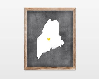 Maine Chalkboard State Map 8x10 Art Print. Personalized Chalkboard Home Art Print. Maine Map. Honeymoon Map Art Gift. Map Art.