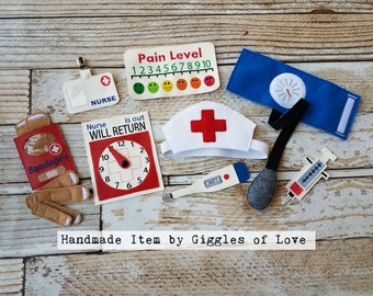 Pretend Play Nurse Set - Embroidery Handmade Child Gift - Doctor Nurse Medical Educational Imagination Imaginary Play Unique Gift