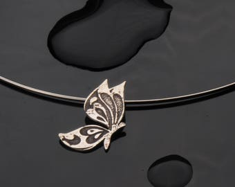 Oxidized Silver Etched Butterfly Pendant
