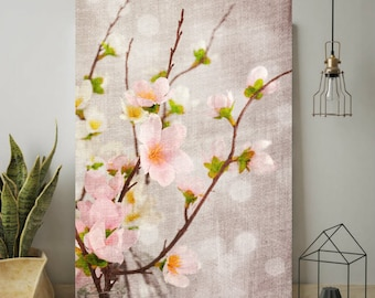 Spring Cherry Blossoms, Flowers, Wall Art Print, Tree Blossoms Floral Photography Pink Romantic Wabi Sabi, Digital Download Print