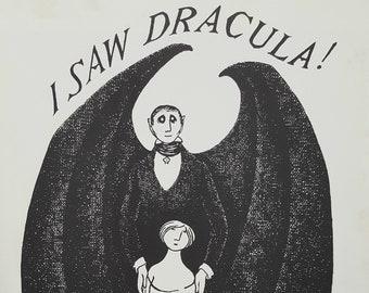 "EDWARD GOREY Original Vintage 1970's RARE Poster Print Gothic Home Decor Macabre Art Poster Count Dracula"" 1977"