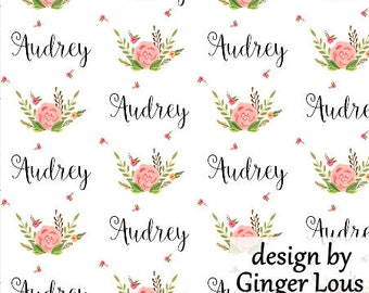 Girls Personalized Fabric, Floral Custom Name Fabric, Baby Name Fabric, Baby Blanket with Name Fabric by the Yard or Fat Quarter