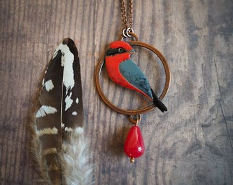 vermilion flycatcher enameled copper pendant, nature inspired red bird pendant, modern necklace for nature lover, boho style, gift for her