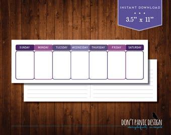 Printable Weekly Planner - Eternal Calendar - Simple Modern Purple Daily Calendar - Instant Download