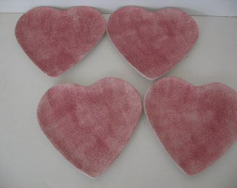 REDUCED! - 4 - Porcelain Pink Heart Shaped Plates