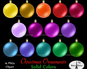 14 Assorted Christmas Ornaments Clipart Plain Ornament Clip Art Solid Color Commercial Use