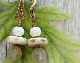 White Carved Bone and Quartz Earrings
