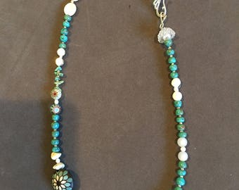 "23"" Necklace in Teal and White Featuring Lampwork Centerpiece Bead"