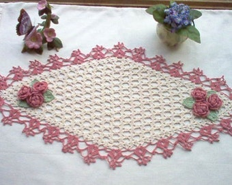 Victorian Rose Garden Centerpiece Runner Crochet Thread Art Doily New Handmade