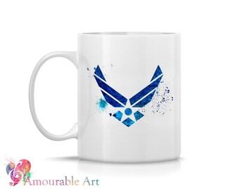 Coffee Mug, Ceramic Mug, Air Force Mug, Unique Coffee Mug Gift, 11oz or 15oz, Watercolor Art Print Mug, Two-Sided Print, Coffee Lover, USAF
