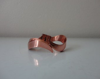 VINTAGE RENOIR copper cuff clamp BRACELET with clip on earrings