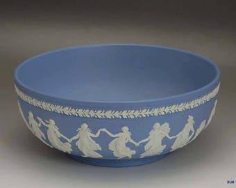 Modern 1968 Wedgwood Blue Jasperware Porcelain Large Bowl
