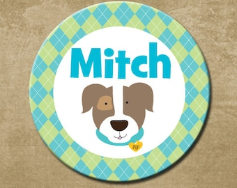 Dog Plate, Melamine Personalized Dinner Plate, Plastic Plate, Custom Plate, Puppy Plate Boys, Birthday Gift, Argyle