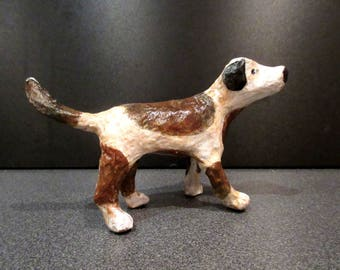 Papier mache Dog...Hand painted and varnished..Delightful little fellow