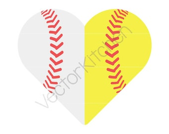 Split Heart Shaped Half Baseball / Softball Ball Cutting Template SVG EPS Cricut Silhouette Commercial Vector Home Run, Bunt, Steal, Bases