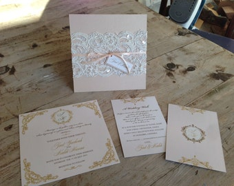 Lace-Accented Blush and Gold Wedding Invitations