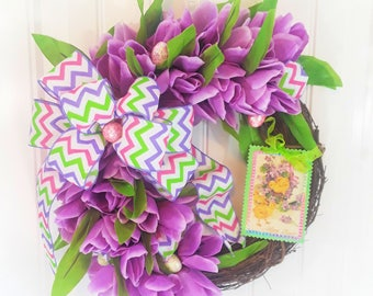 Lush Lavender Tulip Easter Wreath with detachable sign is a perfect Small Wreath for Window or Easter Grapevine Wreath 14""