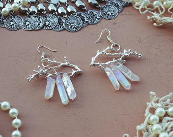 forest witch crystal quartz earrings