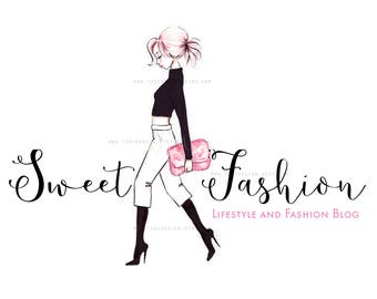 Sweet mode personnage illustré Premade Logo design-mode et style de vie Blog - Fashion BLOGGER