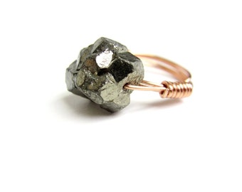 chunky pyrite ring - copper wire wrapped - u.s. size 8.5 - handmade by RockinLola
