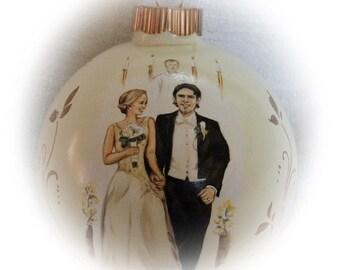 Custom Wedding Ornament, Portrait Painting on 4 inch Christmas Ornament