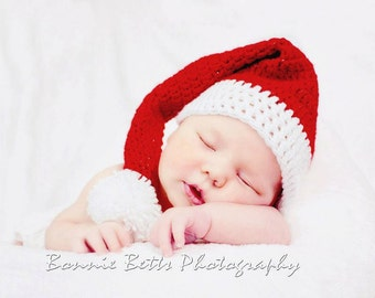 Crochet Santa Hat - Newborn Photo Prop - Christmas Photo Prop - Holiday Photo Prop - Crochet Christmas Hat - Baby Santa Hat - Made to Order