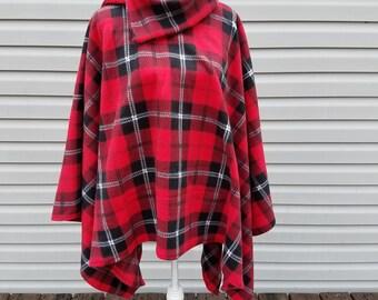 Red & Black Plaid Fleece Poncho