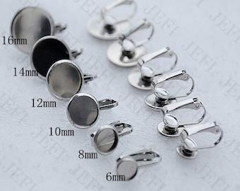 50 Clip Earring Blanks-  316L Stainless Steel Lever-Back Ear Wire W/ 6mm/ 8mm/ 10mm/ 12mm/ 14mm/ 16mm/ 18mm/ 20mm Round Bezel Setting