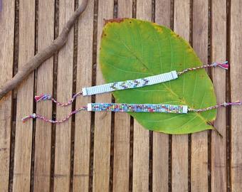 White or multicolor beaded bracelet