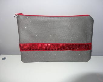 Clutch silver glitter and Red