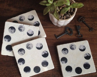 Moon Phases - stone coasters -immediate shipping