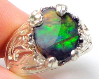 9.5,Rare Gemstone,Ammolite,Multi Colored Stone from Giant Petrified Snail,Blue,Green,Red,Orange,Natural Gem,Unisex Ring,Collector Stone,OOAK