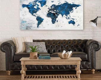 World map canvas etsy world map canvas push pin travel map navy blue world map large canvas gumiabroncs Gallery