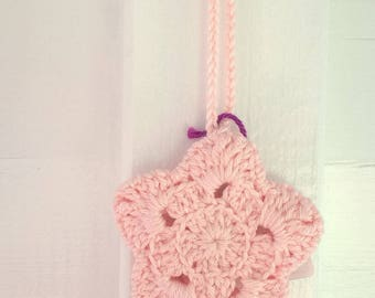 Hanging star crochet, handmade, light pink