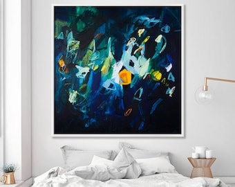 Large Wall art Abstract Painting Print Large giclee print Indigo Wall art navy blue wall art Modern Wall art above bed Sparkles