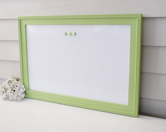 "Cottage Magnetic Dry Erase Board - Whiteboard Bulletin Board 15"" x 22"" Handmade Solid Wood Frame in Stem Green Lime Green Memo Magnet Board"