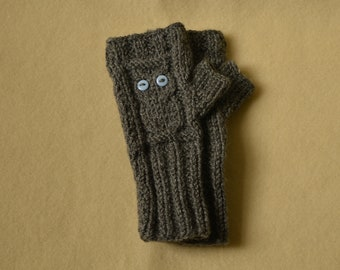 Children's fingerless mittens, owl mittens, owl fingerless gloves