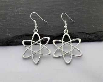 Atom Earrings, Science Earrings, Atom Jewellery, Charm Earrings, Science Jewelry, Atom Gift, Science Gifts, Science Gifts, Science Jewellery