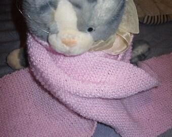 Long Pink Scarf, Knit, Garter Stitch